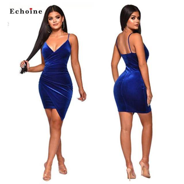 Party Dress Women Sexy Velvet Bodycon Backless V-Neck Midi Sheath Irregularity Hemline Royal Blue Ladies Dresses Elegant 2
