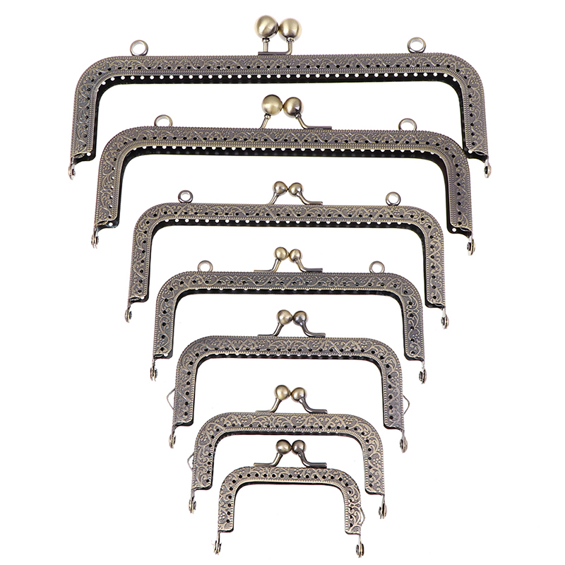 7Sizes Square Metal Frame Kiss Clasp Lock Frame For Handle Bag Purse Accessories DIY Metal Frame Purse Handle