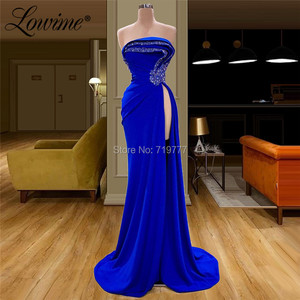 Image 2 - 로브 드 soiree strapless 파티 드레스 결혼식을위한 여성 이브닝 가운 aibye couture 긴 로얄 블루 긴 섹시 댄스 파티 드레스 2020