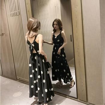 2020 Summer Plus Size 4XL Women Dress Belt Bow Sleeveless Ladies Vestidos Print Dot Elegant Dress Off the Shoulder Brnd Robe 1