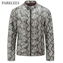 PU Leather Jacket Men Sexy Snake Pattern Motorcycle Biker Jacket Men Zipper Design Faux Leather Mens Jacket Coat