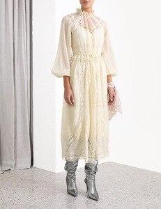 2020 principios de primavera nuevo modelo elegante moda Puff manga hueco Vestido largo de seda tamaño S M L envío gratis a todo el mundo