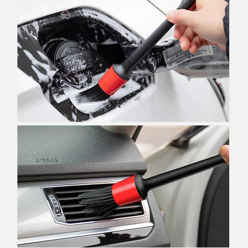 Cepillo de 5 uds detallado de coches, cepillos de limpieza automáticos, rueda Universal para salpicadero, salida de aire, herramientas de limpieza con detalle para coche, accesorios de lavado de coche