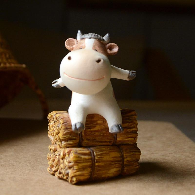 Everyday Collection Cow Animals Home Fairy Garden Figurines Miniature Dairy Cattle Bonsai Ornament  Micro Landscape Home Garden