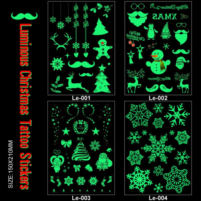 2019 Halloween Christmas Luminous Temporary Tattoo Stickers Ghost Santa Claus Glowing In Dark For Carnival Party Decorations