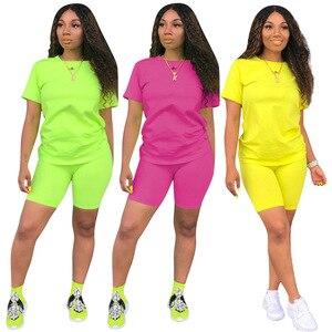 Image 2 - HAOYUAN 2 Stück Set Frauen Trainingsanzug Festival Kleidung Neon Crop Top und Biker Shorts Sexy Club Outfits Zwei Stück Passenden sets