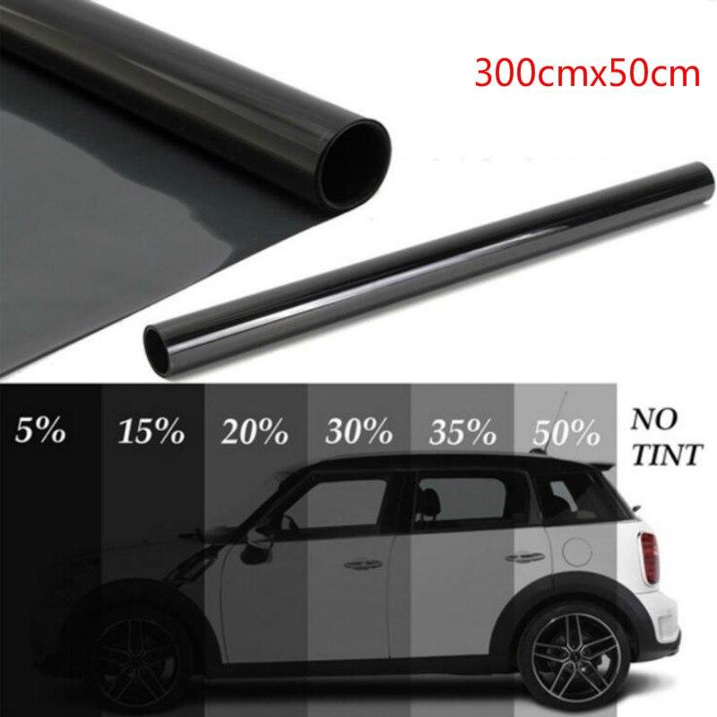 300cm x 50cm negro coche ventana láminas tinte rollo de película coche Auto hogar ventana de vidrio verano Solar UV Protector de película, adhesivo