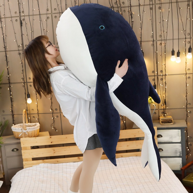 <font><b>Big</b></font> Animal <font><b>Whale</b></font> <font><b>Plush</b></font> Toy Cartoon Dolphin Doll Blue <font><b>Whale</b></font> Pillow for Children Girl Gift Decoration 59inch 150cm DY50717 image