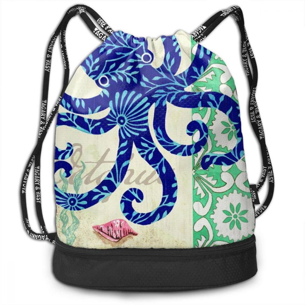 Octopus Blue Drawstring Backpack Sports Athletic Gym Cinch Sack String Storage Bags for Hiking Travel Beach