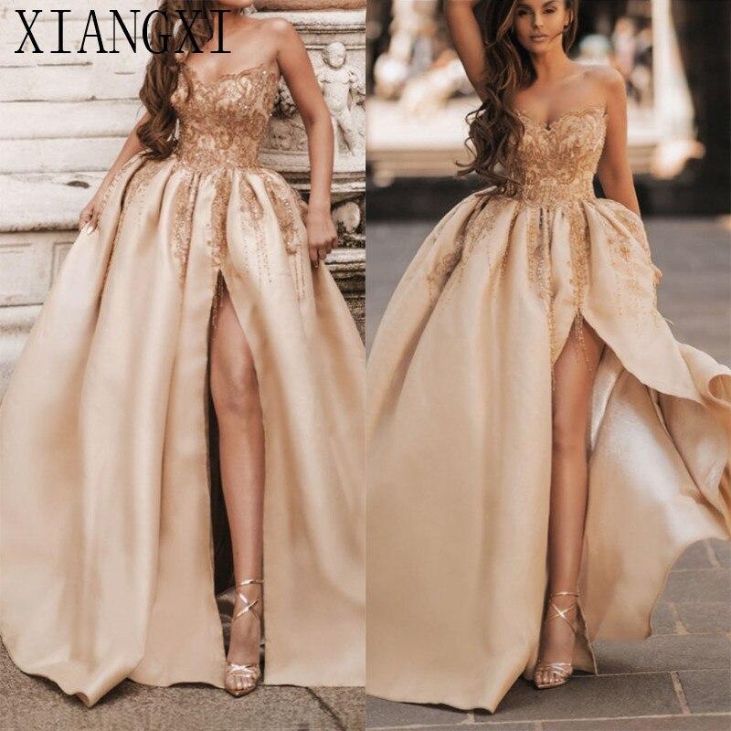 Champagne hors épaule Sexy robes de soirée Satin perles paillettes a-ligne conception de robes de soirée
