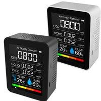 Monitor de calidad del aire 5 en 1 para interior, medidor de calidad del aire Lcd Digital co2, Sensor inteligente de calidad del aire en tiempo Real, Detector de co2