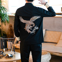 Classic Chinese Style Mens Sets High Quality Stand Collar Embroidery Men Jacket and Pants Size S M XL 4XL 5XL Men Casual Set