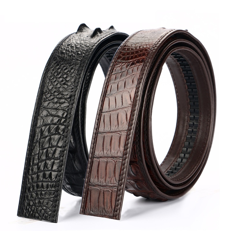 Authentic Exotic Crocodile Skin Men's Waist Strap Man Brown Belts Without Buckle Genuine Alligator Leather Male Automatic Belts