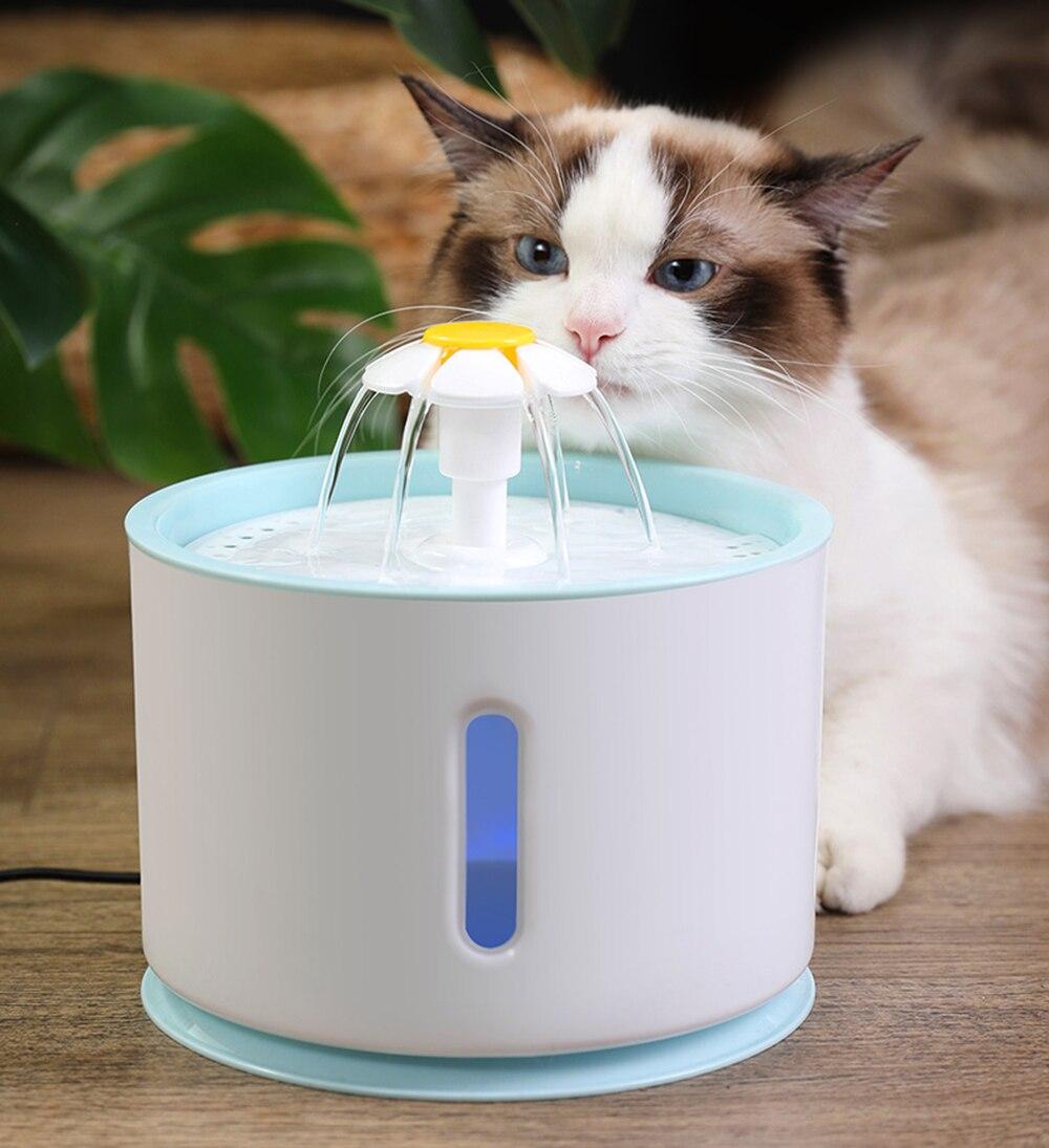 Бесшумный автоматический фонтан для кошек, СВЕТОДИОДНЫЙ Электрический Поильник с USB для собак и кошек, чаша для подачи воды объемом л, Поиль...