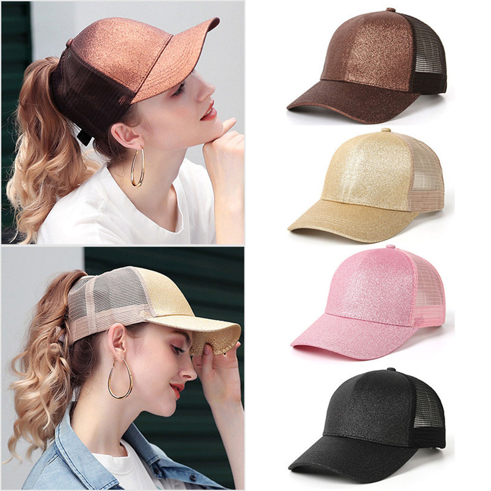 2019 <font><b>Glitter</b></font> <font><b>Ponytail</b></font> <font><b>Baseball</b></font> <font><b>Cap</b></font> <font><b>Women</b></font> Adjustable Messy Bun <font><b>Caps</b></font> Black Hat Girls Casual Cotton Snapback Summer Mesh Hats image