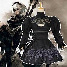 Anime jogo nier automata 2b yorha no.2 cosplay traje conjunto de roupas halloween feminino role play cosplay traje meninas vestido de festa