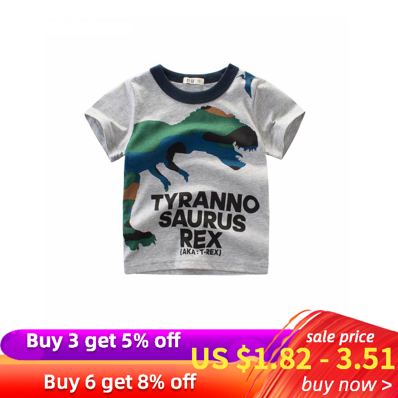 27kids Girl Shirts Clothing Dinosaur Children Baby Buy3get5%Cotton Boy for Summer Top-Tee