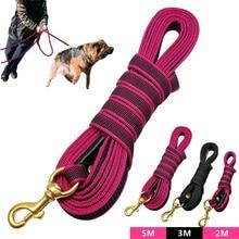Long Dog Tracking Leash Non-Slip Nylon Training Leads Walking 2m 3m 5m For Medium Large Dogs Heavy Duty
