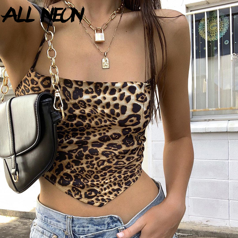 ALLNeon Y2K Summer Fashion Leopard Print Bandage Backless Cropped Tops E-girl Sexy Sleeveless Lace Up Straped Tank Top Vintage