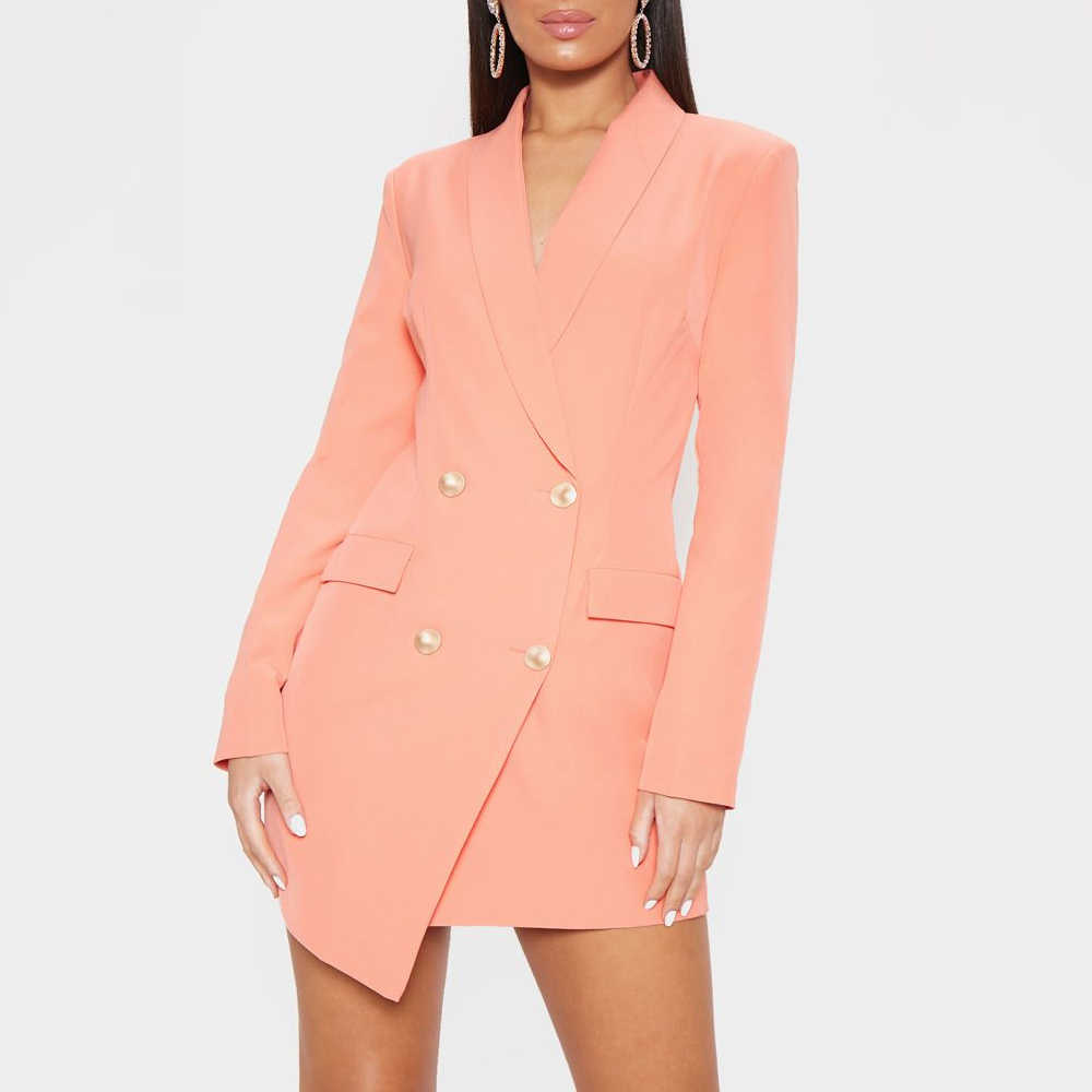 Women Fashion Sexy V-neck Double Breasted Blazer Dress Lady Elegant Solid Color Long Sleeve Slim Fit OL Mini Dress 2019 New