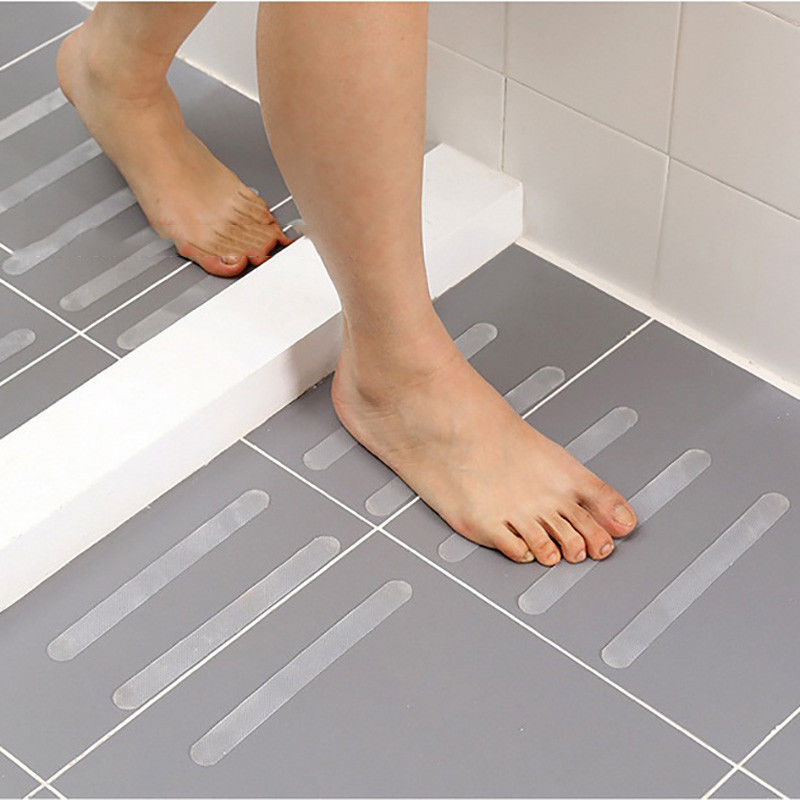 New 12Pcs Anti-Slip Shower Floor Sticker Bathroom Wall Accessories Safety Bath Tub Shower Strips Tape Mat Home Decor Accessories
