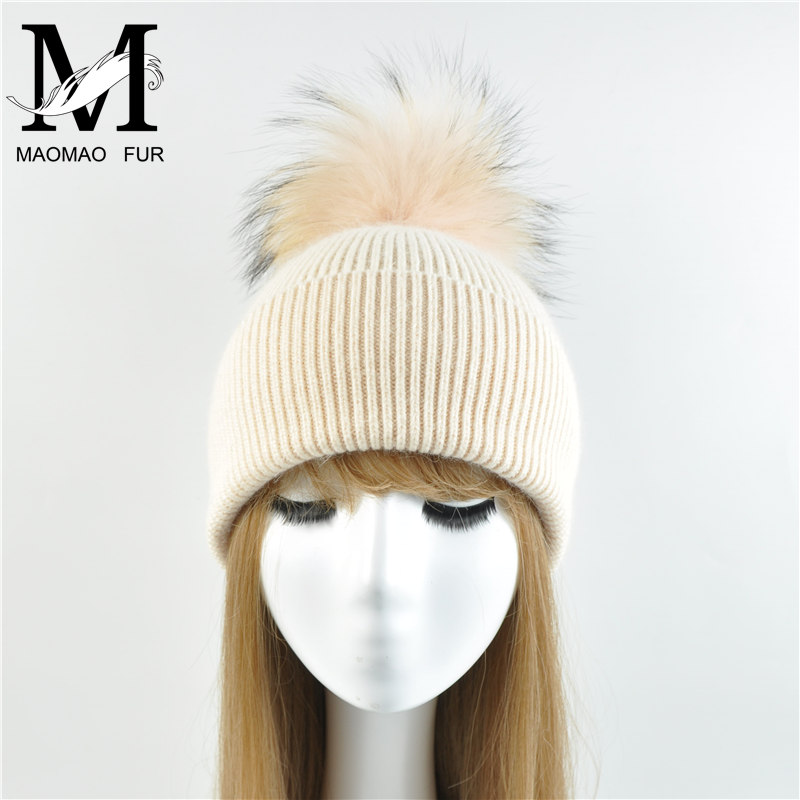 New Women's Hat Winter Beanie Knitted Hat Angora Rabbit Fur Bonnet Girl 's Hat Fall Female Cap with Fur Pom Pom Tops 3