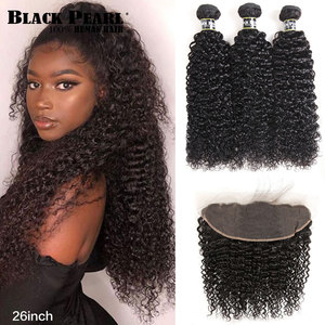 Black Pearl Kinky Curly Lace Frontal Closure 13x4 With Bundle Brazilian Curly Weave Remy Human Hair 3 Bundles With Lace Frontal