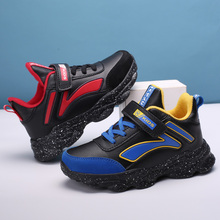Kids Sneaker Platform PU Vamp Lace-up Shoes Round Toe Patchwork High Top Childrens  Waterproof Boys Autumn