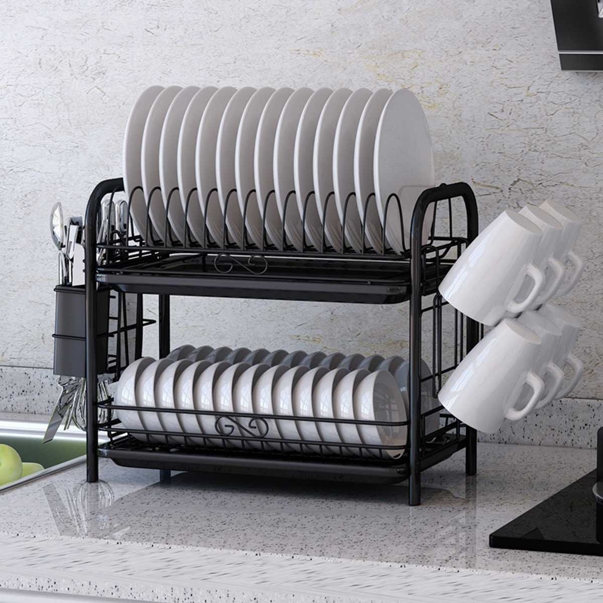 2/3 Tiers Dish Drying Rack Holder Basket Plated Iron Home Washing Great Kitchen Sink Dish Drainer Drying Rack Organizer Black 1