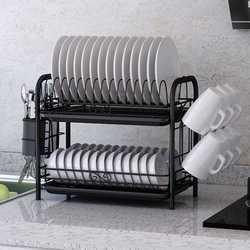 2/3 camadas prato de secagem rack titular cesta banhado a ferro casa lavagem excelente pia da cozinha escorredor prato secagem rack organizador preto
