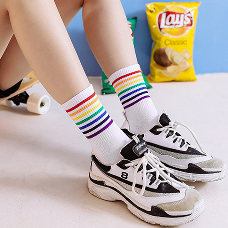 Autumn Winter Funny Socks Harajuku Striped Socks Women Cotton White Rainbow Print Socks Long Warm Ankle Socks