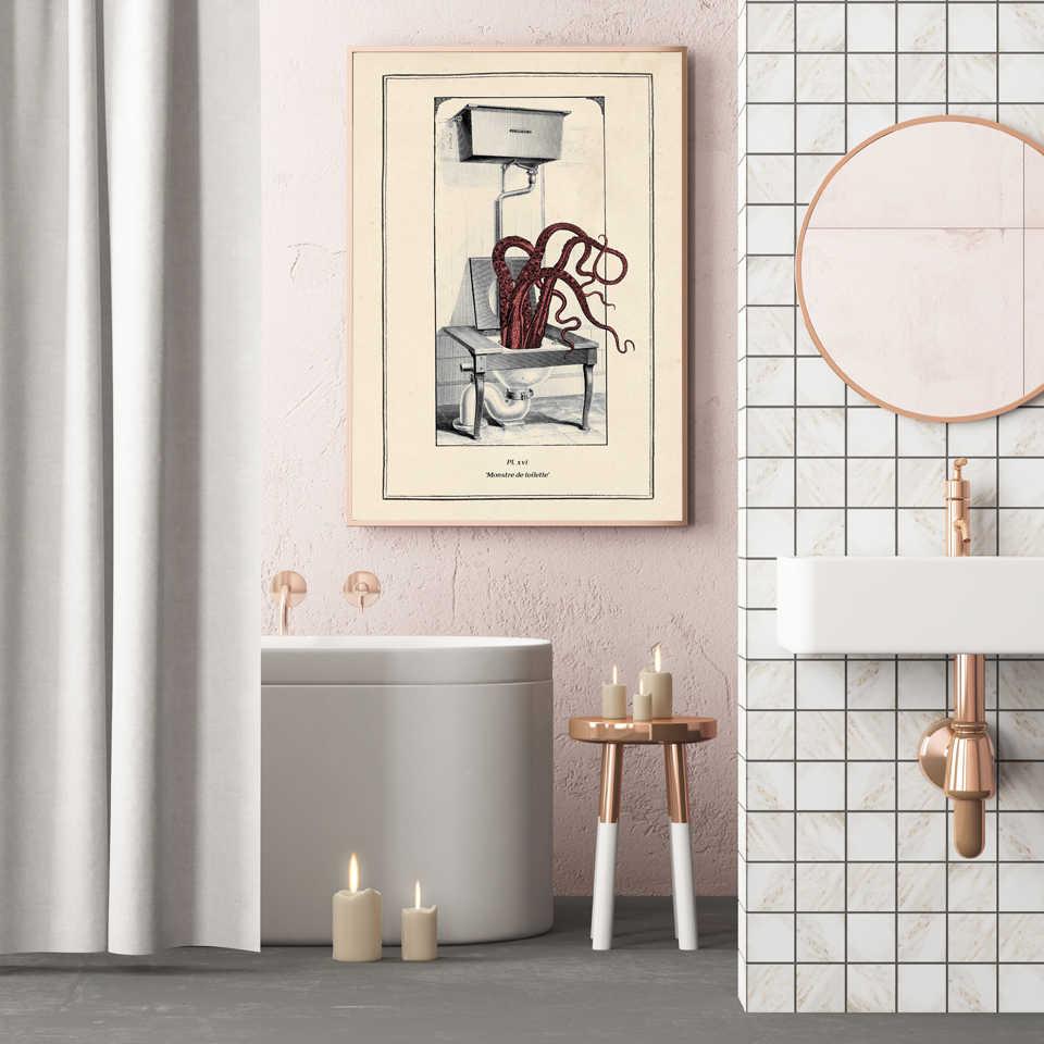 Octopus Print Funny Toilet Wall Art