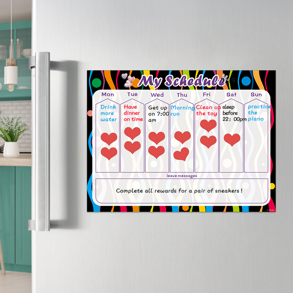 Dry Wipe Magnetic Whiteboard Fridge Sticker Weekly Daily Planner Calendar To Do List Kids Reward Chart Daily Schedule 40x30cm