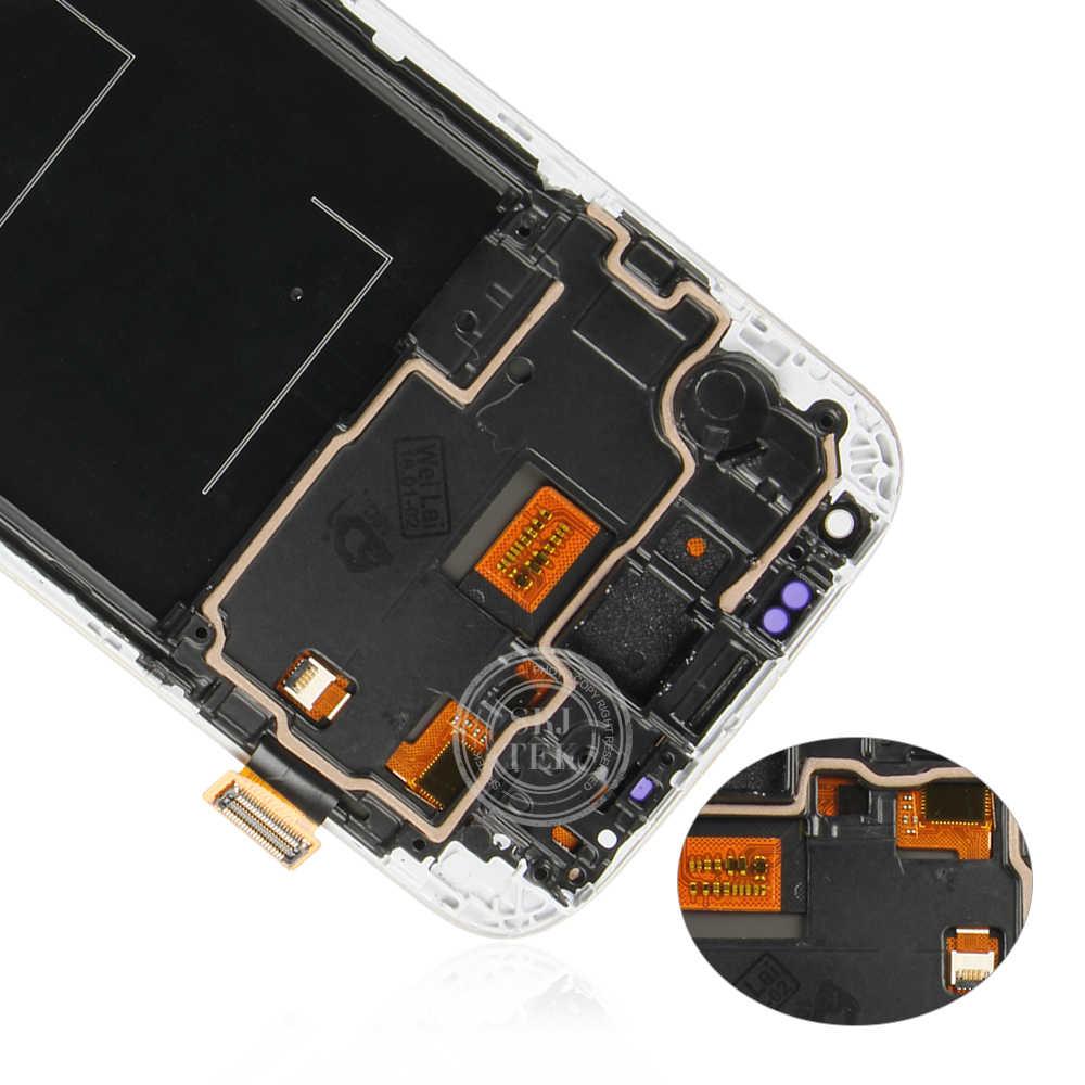 IPS لسامسونج غالاكسي S4 I9500 شاشة إل سي دي باللمس محول الأرقام الاستشعار الزجاج الجمعية مع الإطار ل غالاكسي S4 GT-i9505 i9505