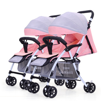 Twin Baby Stroller Lightweight Folding Cart High High Landscape Suspension Baby Carriage adjustable Four Wheel Stroller 5 5kg high landscape baby stroller lightweight baby strollers foldable portable four wheel stroller baby carrier pushchair cart