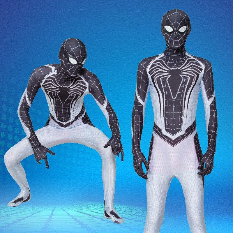 Adult Spiderman Suit Peter Parker Cosplay Costume Mask Zentai Spiderman Superhero Jumpsuits Halloween Man Kids