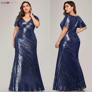 Image 3 - Plus Size Rose Gold Evening Dresses Long Ever Pretty EP07988RG Mermaid V Neck Sequined Arab Formal Party Dresses Lange Jurk 2020