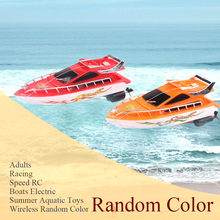 Wireless Remote Control Adults Mini Electric Aquatic Toys Lakes Kids Summer Battery Powered RC Boats Racing Speed Random Color
