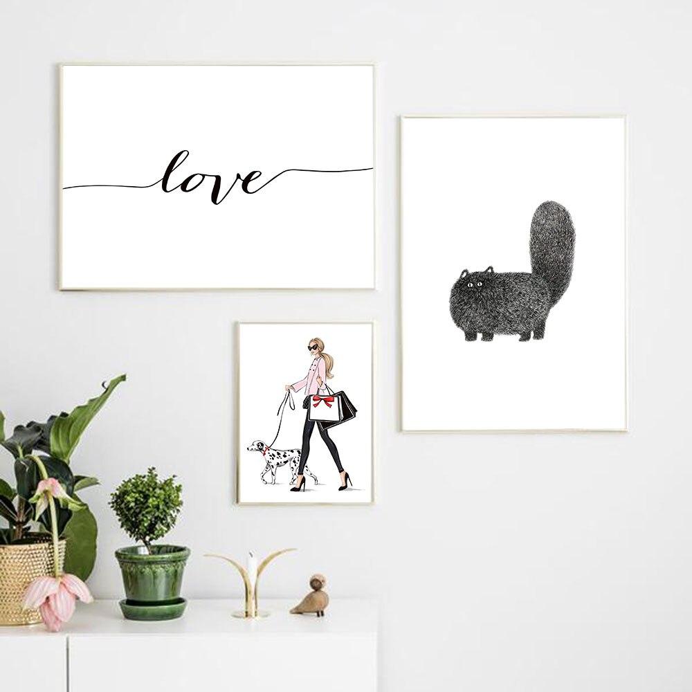 Nordic Stil Modus Mädchen mit EIN Haustier Hund Zauberstab Kunst Leinwand Kunst Minimalistischen Kindergarten Tier Kinder HD Bilder D