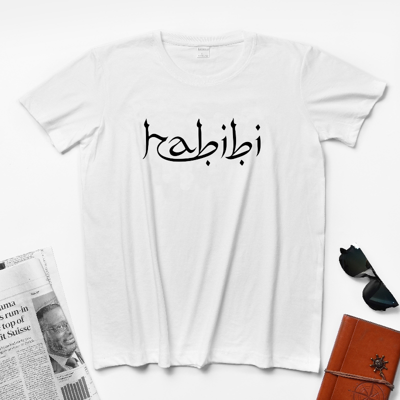 New Crew Neck Pure Cotton Arabic Text Muslim Hipster Tumblr Insta's Birthday Gift Arabic Text Habibi Men's Cool T-shirt