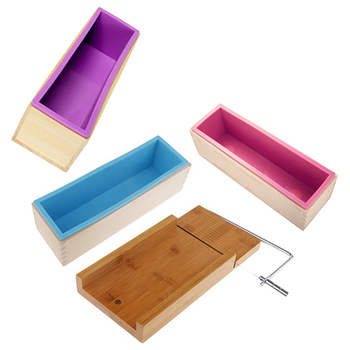 3Pcs Wooden Box, Silicone Soap Bread Mold and 1Pcs Soap Cutter Slicer for DIY Soap / Cake / Chocolate Making Tools