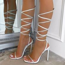 2021 letnie nowe modne damskie sandały sznurowane open-toe stiletto sandały damskie nowe modne buty damskie tanie tanio WaterMonkey CN (pochodzenie) Super Wysokiej (8cm-up) Na co dzień podstawowe Szpilki Otwarta RUBBER Wsuwane Dobrze pasuje do rozmiaru wybierz swój normalny rozmiar