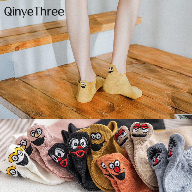 Kawaii Embroidered Expression Women Socks Happy Fashion Ankle Funny Socks Women Cotton Summer 1 Pair Candy Color Dropship