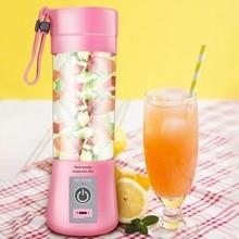 380Ml Usb Rechargeable Blender Mixer 2 Blades Juicer Bottle Cup Juice Citrus Lemon Vegetables Fruit Smoothie Squeezers Reamers цены онлайн