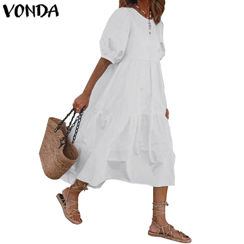 VONDA Summer Maxi Long Dress Plus Size Solid Color Lantern Sleeve Dresses Casual Party Sundress Loose Beach Vestidos Femme Robe(China)