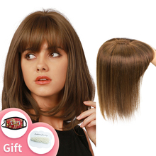 Topper Human-Hair-Pieces Isheeny Women Brown with Bangs 13x13cm-Base 8-10-12-14-Center-Part