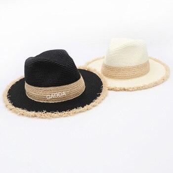 Paille Fedora Panama chapeau été plage UPF Protection solaire avec bord Fedora plage pêche colorée