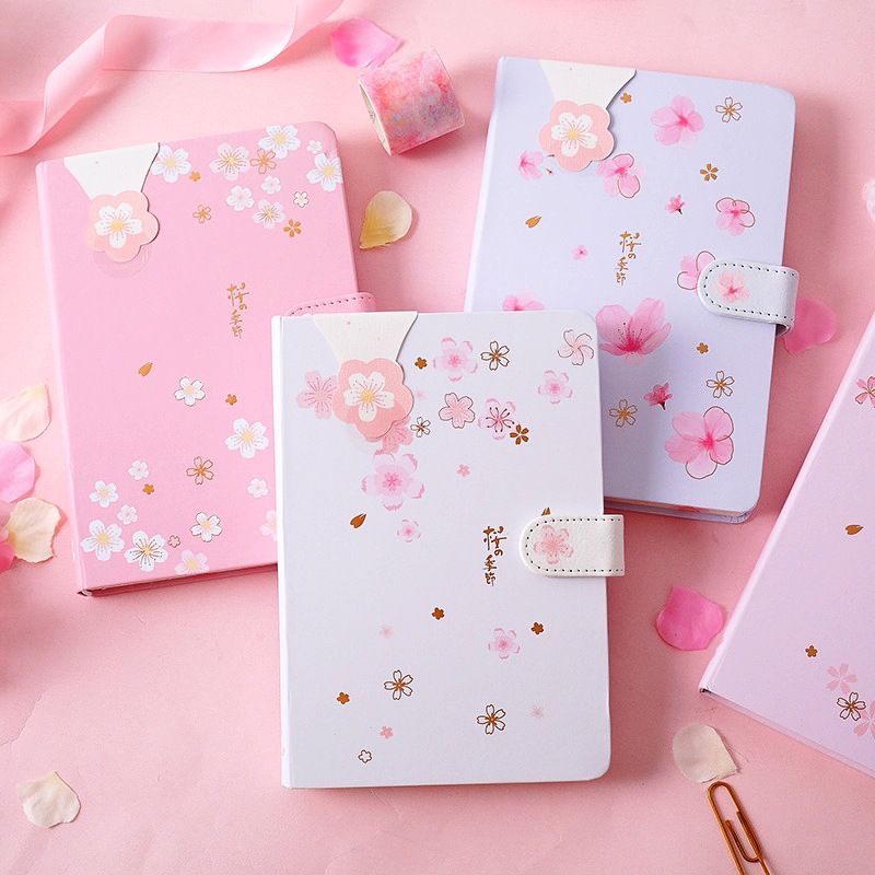 """""""Pink Flowers"""" Hard Cover Diary Cute Girls Journal Study Notebook Beautiful Notepad"""