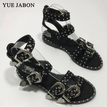Black Summer Multiple Buckle Rivets Rivets Peep Toe Ankle Wrap Women Sandals Ope