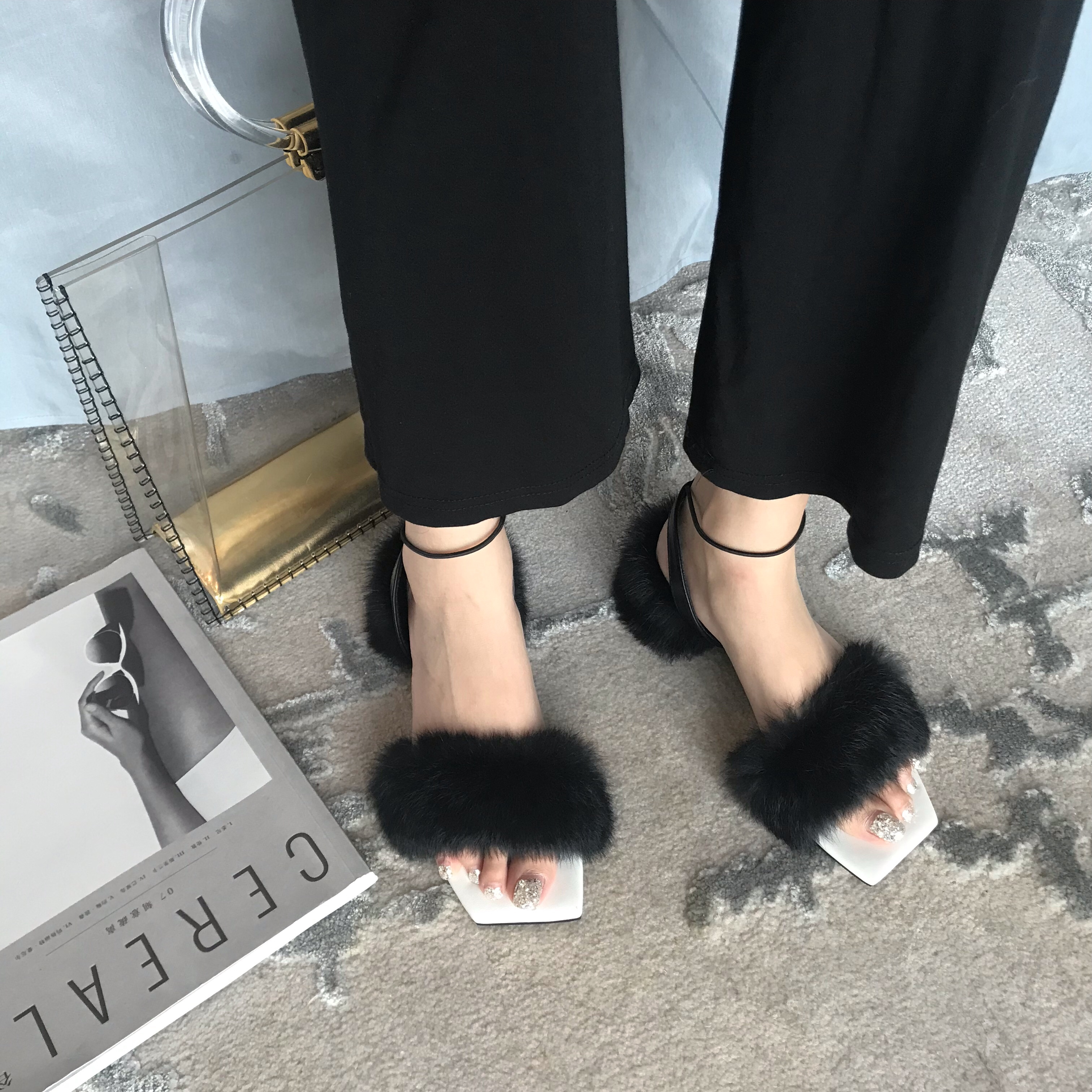 Fluffy Sandals Slippers Ankle-Strap Winter Warm-Shoes Square Heel Women Ladies New Fur